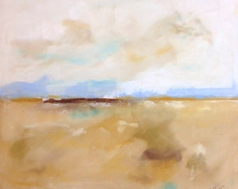 Golden Abstract Landscape Painting Original Art -Marshall View 24 x 30