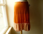Ruffle Slip Skirt M/L Burnt Orange Glam Garb Handmade USA Romantic Victorian Steampunk Vintage Hand Dyed OOAK Retro Rockabilly Burlesque
