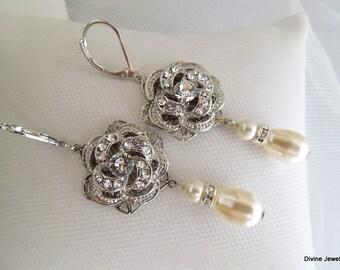 bridal earrings, pearl earrings, pearl rhinestone earrings, wedding rhinestone earrings, chandelier earrings, wedding earrings, ROSELANI