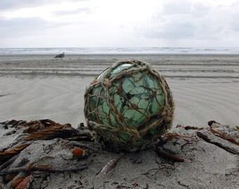 "Japanese Glass Fishing Float - 4"" diameter, Original Double Net, Green"