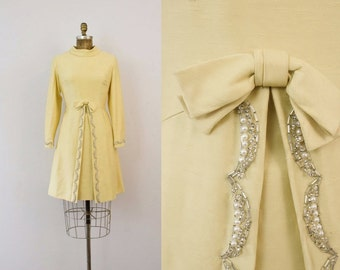 1960s Breakfast At Tiffany's canary yellow beaded dress / 60s holiday collection