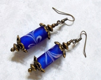 Frosted Cobalt Blue and Brass Earrings (2776)