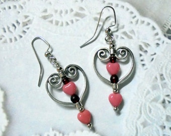 Pink and Silver Heart Earrings (2428)