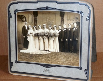 Vintage Black & White Art Deco Wedding Photograph 1920's 1930's Antique Wedding Party Photo in Frame Detroit Michigan Collectible