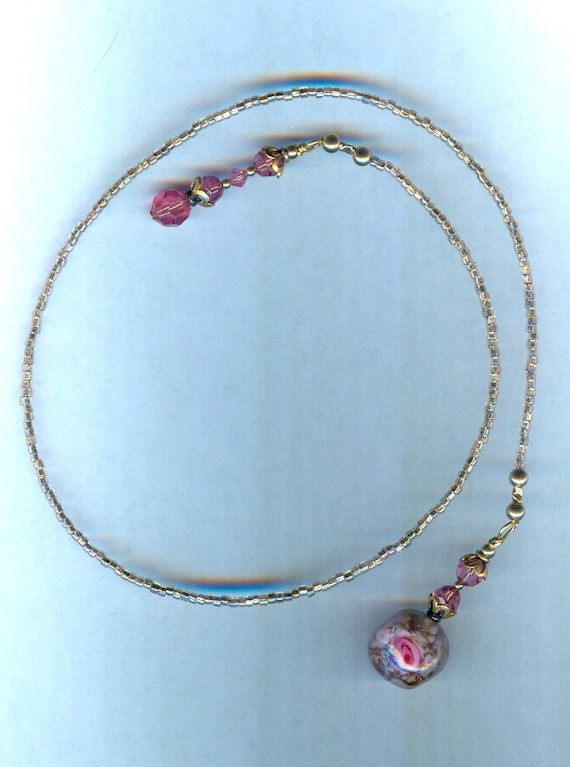 Swarovski Rose Faceted Crystal and Rose Lampwork Bead Bookmark GREAT Christmas gift!