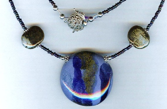 Medley of Blue Stunning Kazuri Bead One of a Kind Necklace!