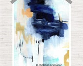 Abstract Fine Art Giclee Print from original Acrylic painting 'Industry'  Navy black peach blue tan white teal 