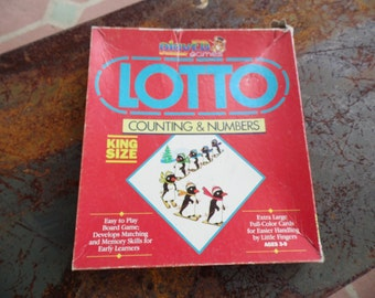 Lotto vintage 1985 Play Ed game Counting and Numbers King Size for ages 3-9 Russell Mfg Allentown PA easy to play board game matching memory