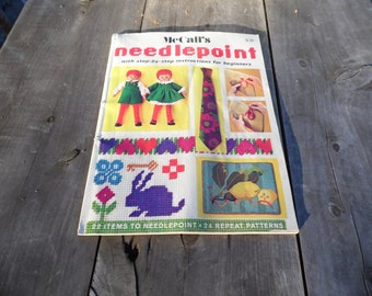 McCall's needlepoint magazine, 80 pages, with step by step instructions for beginners 22 items to needlepoint 24 repeat patterns1972