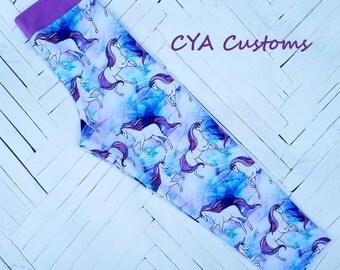 Capri length leggings girl size 8 unicorns lavender