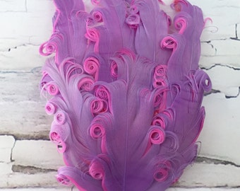 One Curly Nagorie Feather Pad, Feather Pad, Bridal Feather, Curly Feather Pad, Grape with Hot Pink