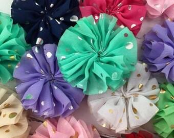 Set of 5-Foil BALLERINA Flower-You Choose Color, Foil Print, Gold or Silver Dot Flower, Gold Foil Dot, Silver Foil Dot