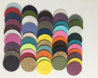 Wool Felt Circles 50 - 1 inch Random Colored 3466 - felted circles - circle die cuts - headband supplies - 1 inch felt circles