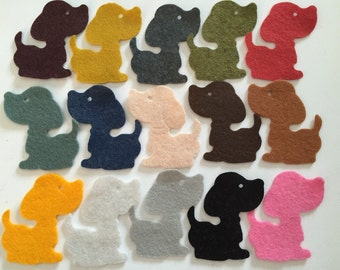 Wool Felt Dog Die Cuts 15 Count - Random Colored 3348