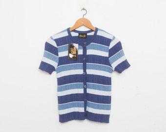 Deadstock vintage 90s knit sweater cardigan blue stripes