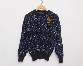 sweater 90s NOS vintage blue black sweater