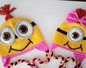 Crochet Girl Minion Hat with red hair-full or half smile-twins-adult-halloween costume-for Baby or Toddler-baby halloween outfits