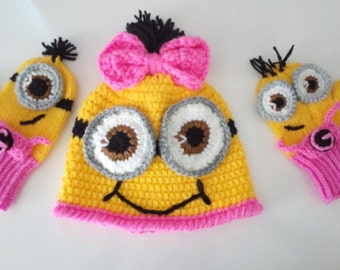 Minion Girl Hat and Gloves Set-Minion Hat and Minion Mittens Gloves- Baby Boy Girl Photo Prop Set -baby halloween outfits