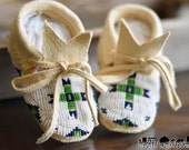 Native American Beaded Baby Moccasins size 3