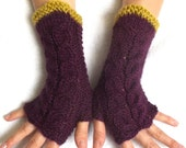 Fingerless Gloves Cabled Warm Wrist Warmers Maroon Purple Chartreuse Green Yellow Fingerless Arm Warmers