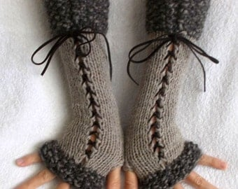 Fingerless Corset Gloves Arm Warmers  in Beige Grey Brown  Victorian Style Handknitted