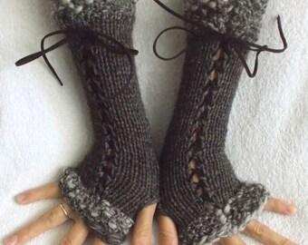 Hand knitted Fingerless Corset Gloves Arm Warmers  in Beige  Dark Brown  Victorian Style