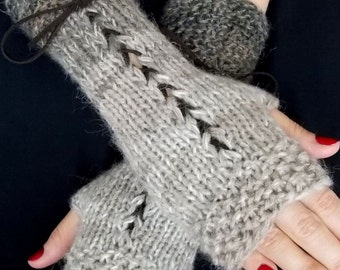 Knit Fingerless Gloves Wrist Warmers Taupe/ Brown Beige Corset  with Suede Ribbons Victorian Style