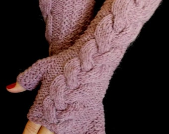 Fingerless Gloves Hand Knit Arm Warmers Pale Violet Purple Maroon Cabled Women Warm Winter Accessory