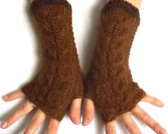 Fingerless Gloves Cabled Wrist Warmers in Dark Honey Brown Warm Aoft Luxurious Women Accessory