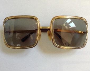 French 70s vtg CHLOE goldy square sunglasses/ eyeglasses circa 70s