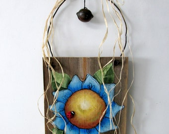 Rustic Blue Flower, Hand Painted on Reclaimed Barn Wood, Blue Flower, Red Lady Bug, Reclaimed Barn Wood, Hand or Tole Painted, Hanging Art