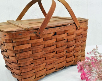 Countryside Woven Wood Picnic Basket - vintage tote - Country Farmhouse Basket