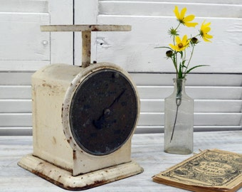 Vintage Chatillon Scale - rustic farmhouse decor - White Kitchen Scale