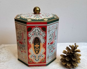 Vintage Tin Octagon With Hearts & Folk Art Designs In Gold Red Green White Made in Western Germany, Metal Container Storage Box