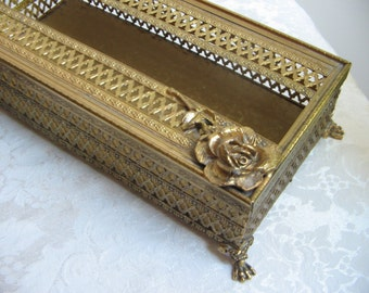 Vintage Ornate Gold Metal Kleenex Tissue Holder Box Embossed Roses Flowers, Matson Sylebuilt Style, Paris Apartment Hollywood Regency Glam