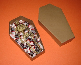 Coffin Box Kit with Skeletons and Lids - Halloween Treat Boxes - Party Supplies - Goth Wedding - Over The Hill Party