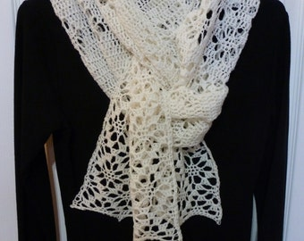 Crocheted Lacey White Scarf - Ready to Ship