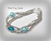 Multi Strand Bracelet - Multi Chain Bracelet - Pearl Chain Bracelet - Silver Chain Bracelet - Layered Bracelet - Minimalist Bracelet