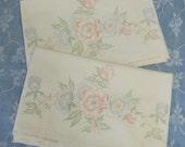 Vintage Colortex Stamped Floral Print Pillowcase Set Pair No G00 J