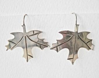 Artisan Silver Earrings Sterling Silver Leaf Jewelry Figural Jewelry Autumn Thanksgiving Oak Leaves 925 Pierced Dangle Drop Earrings