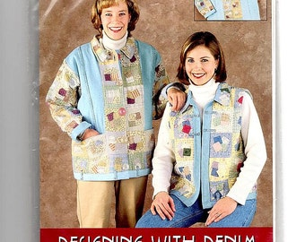 Vintage Sewing Pattern Indygo Junction Designing With Denim Size S - XL Jean Recycling Vest and Jacket Seamstress Tailor Supplies