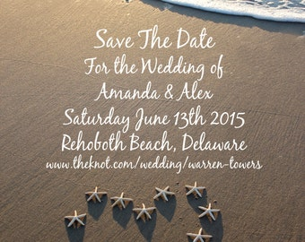 Save The Date Beach Wedding Photo Invitation Digital File