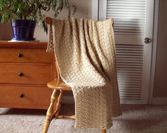 Crocheted Throw Blanket, Crocheted Afghan Blanket, Crocheted Blanket, in Lace beige color, 59x40, Handmade, Lap Throw, Home Decor