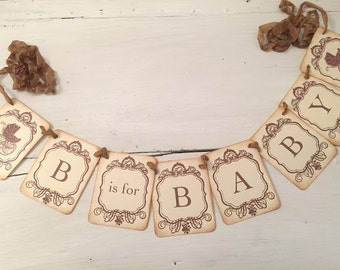 B is for Baby Banner Garland Baby Shower Decoration Boy or Girl Carriage Photo Prop