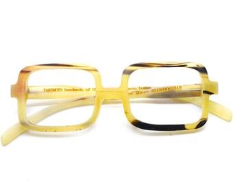 OX horn round MJX1501  handmade prescription very square eyeglasses takemoto