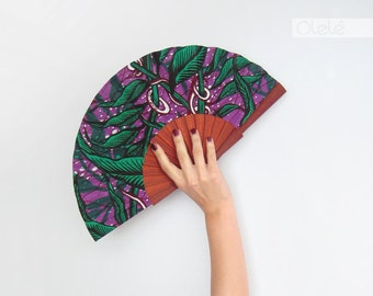 African wax print accessory - Spanish hand fan with case by Olelé - Emerald on purple and red wood - Urban fashion Spring Summer