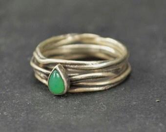 Twig Rings, Sterling Chrysoprase Rings, Green Gemstone Rings, Meyalsmith Jewelry