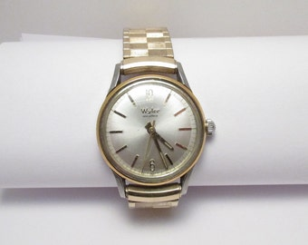 Vintage Wyler Mens Wristwatch wrist watch Incaflex automatic Gold Silver tone