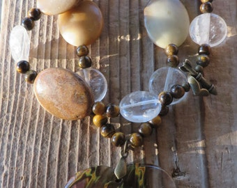 Agate Quartz and Tigers Eye Beaded Necklace with Cherry Quartz Heart Pendant
