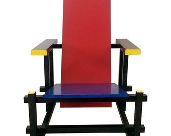 Red Blue Chair in the Manner of Gerrit Rietveld
